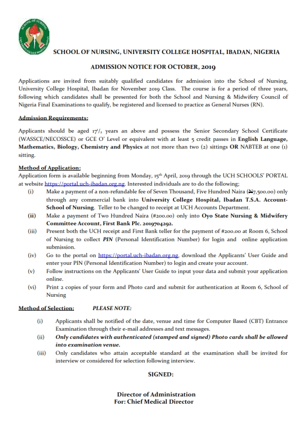 SCHOOL OF NURSING, UNIVERSITY COLLEGE HOSPITAL, IBADAN, NIGERIA ADMISSION NOTICE FOR OCTOBER, 2019